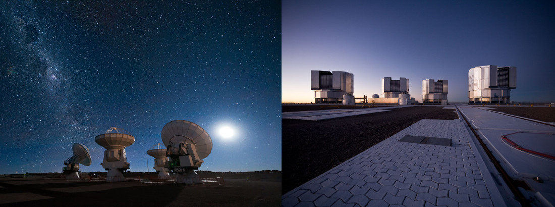 Banner for th evirtual school with ESO and ALMA telescopes